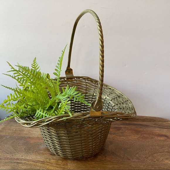 Metal Woven Gathering Basket Gold Brass Vintage